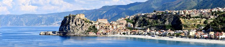 Scilla, old fisherman village in Calabria. Panoramic view of the old fisherman village of Scilla in Calabria, southern Italy stock images