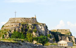 Bastion and church, Corfu, Greece. Church and fortress or bastion overlooking Corfu, Greece Stock Photography
