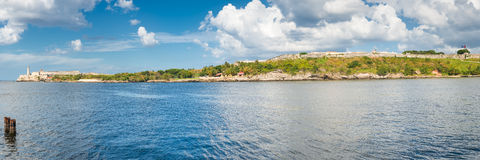 Panoramic view of the old fortresses guarding the bay of Havana Stock Photo