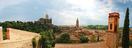 Panoramic view of old historic part of Girona. Spain Stock Image