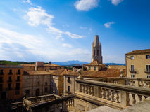 Panoramic view of old historic part of Girona Royalty Free Stock Images