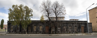 Panoramic view of old historical stone house in Kars. Royalty Free Stock Photography
