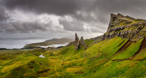 Panoramic view of Old man of Storr mountains, Scottish highlands Stock Image