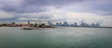 Panoramic view of old and new Panama City - Panama Royalty Free Stock Images