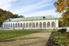 Panoramic view of old orangery in Lazienki park, Warsaw, Poland. Panoramic view of old orangery (built in 1860) in Lazienki park, Warsaw, Poland royalty free stock image