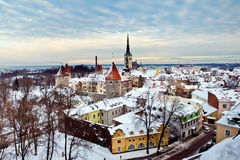 Panoramic view of old part of Tallinn stock images