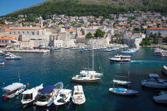 Panoramic view of old port in Dubrovnik Royalty Free Stock Photo