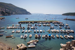 Panoramic view of old port in Dubrovnik Stock Images