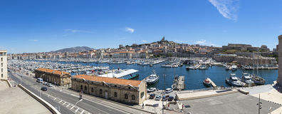 Panoramic view of Old Port in Marseille, France Stock Photography