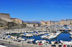 Panoramic view of the Old Port of Marseille, France Stock Photo
