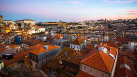 Panoramic view of the old Porto at dusk Royalty Free Stock Photography