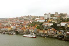 Panoramic view of old Porto Oporto city and Ribeira over Douro river from Vila Nova de Gaia, Portugal.  royalty free stock photo