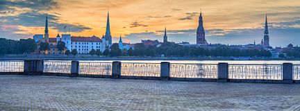 Panoramic view on old Riga city Royalty Free Stock Photo
