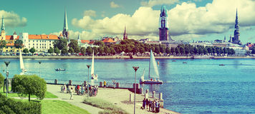 Panoramic view on old Riga city, Latvia Royalty Free Stock Photos