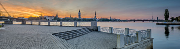 Panoramic view on old Riga city, Latvia Royalty Free Stock Photos