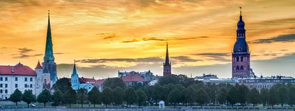 Panoramic view on old Riga city from left bank of the Daugava river Royalty Free Stock Images