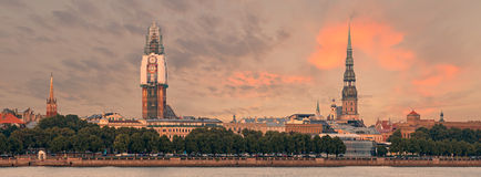 Panoramic view on old Riga city with renovation of Dome church, Latvia Stock Photos