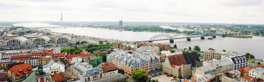 Panoramic view of Old Riga, Latvia Stock Photo