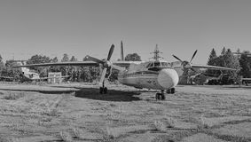 Panoramic view of old soviet aircraft An-24 Antonov Royalty Free Stock Photography