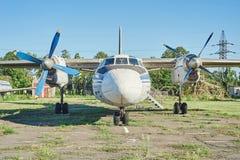 Panoramic view of old soviet aircraft An-24 Antonov Stock Image