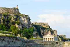 Church and fortress, Corfu, Greece. Church and fortress set in hills of Corfu, Greece Stock Photos