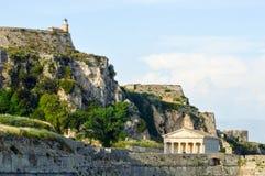 Church and fortress, Corfu, Greece Stock Photos