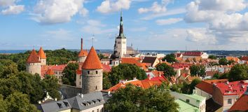 Panoramic view of Old Tallinn Lower town. Estonia Royalty Free Stock Photography