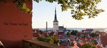 Panoramic view of Old Tallinn Lower town. Estonia Royalty Free Stock Image