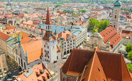 Panoramic view of the Old Town architecture of Munich, Bavaria, Germany.  Stock Photos