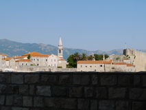 Panoramic view of Old town Budva. Ancient walls and red tiled roof. Montenegro, Europe. Budva - one of best preserved medieval cities in the Mediterranean and Stock Images