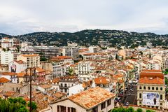Panoramic view of the old town of Cannes, France Cote d`Azur royalty free stock photography