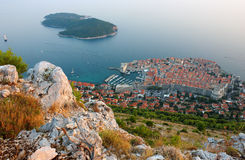 Panoramic view of Old Town Dubrovnik. Panoramic view of the Old Town Dubrovnik and Island Lokrum from the mountain Srd Royalty Free Stock Photo