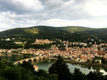 The panoramic view of old town in Heidelberg Stock Images