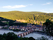 The panoramic view of old town in Heidelberg Royalty Free Stock Photography