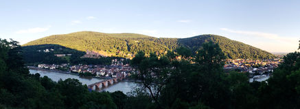 The panoramic view of old town in Heidelberg Royalty Free Stock Photos