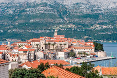 Panoramic view at old town of Korcula on the island of Korcula Royalty Free Stock Photos