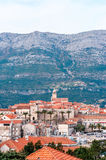 Panoramic view at old town of Korcula on the island of Korcula Stock Images