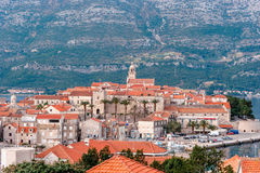 Panoramic view at old town of Korcula on the island of Korcula Royalty Free Stock Photo