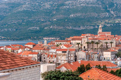 Panoramic view at old town of Korcula on the island of Korcula Royalty Free Stock Photography