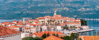Panoramic view at old town of Korcula on the island of Korcula Stock Photo