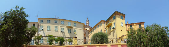 Panoramic View of Old Town of Menton Stock Image