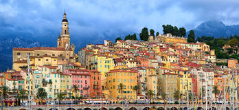 Panoramic view of the old town of Menton, Provence, France. Panoramic view of the colorful medieval town of Menton on french Riviera, Provence, France Stock Images