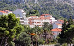 View of the old town and mountains stock photography