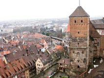 Panoramic view of the old town of Nuremberg in wintertime. Panoramic view from the hill to the brown tile roofs of the houses in the old town of Nuremberg in Stock Photos