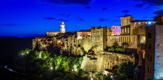 Panoramic view of an old town Pitigliano at the dusk, small old town in Maremma Region in Tuscany, Italy stock photos