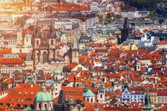 Panoramic view of Old town of Prague with tiled roofs. Prague, C Royalty Free Stock Images
