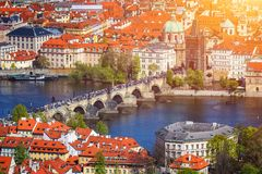 Panoramic view of Old town of Prague with tiled roofs. Prague, C Stock Photography