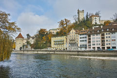 Panoramic view of Old town and reflection in Reuss River, Lucerne, Switzerland Royalty Free Stock Photography