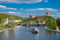 Panoramic view of the old town and river Vilia, Vilnius, Lithuania. Royalty Free Stock Photos