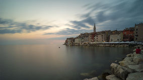 Panoramic view on old town Rovinj at evening Royalty Free Stock Photography